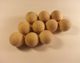 1 inch Wooden Ball  - Set of TEN- Wood Sphere Unfinished Marble - Round Wooden Toy Parts Crafts Marbles