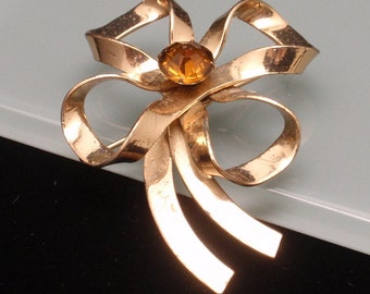 Bow Pin Vintage with Yellow Stone