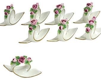Dresden Pink Rose Napkin Rings, S/8 - Porcelain