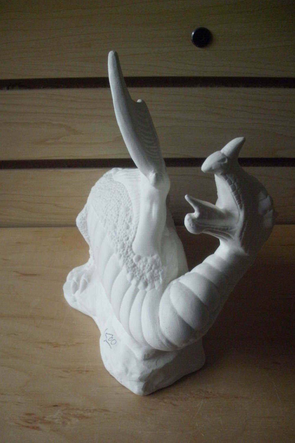 Small unpainted ceramic bisque baby dragon ready to paint for Plaster crafts to paint