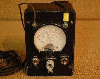 Vintage 1950's Bakelite OHM Meter with wire contacts, vintage electronic meter, vintage test meter, calibration test meter