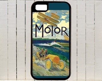 An early 1900s Cover Of Motor Magazine Showing A Bi-plane And A Sprry Racer By The Sea iPhone Case 4, 4s, 5, 5C, 6, 6+ and Samsung Galaxys