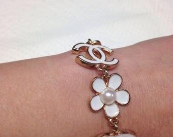 Designer inspired bracelet handmade with cc logo