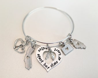 Miles apart but close at Heart Bangle with 3 state charms Family Mothers Sisters Aunts Grandparents siblings heart charms