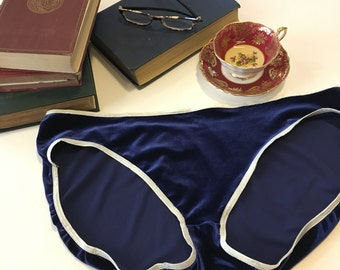 Panties - plus size - bikini style blue velvet with white trim