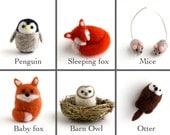 DIY Kit - Pick any 2 Animals - Needle Felting Kit - Needle Felted Miniature Animal Kit - Gift Craft Kit