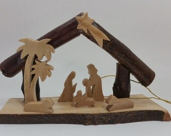 Olive Wood Nativity grotto /carved nativity creche/ Holy Land - E35