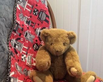 Minkee Baby Quilt, Robot Quilt,  Lego Blanket, Baby Blanket,  Minkee  Quilt, Crib Nursery Bedding, Stroller Blanket, Quiltsy Handmade