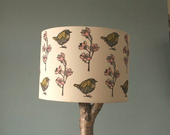Hand printed Linen lampshade, 30 cm, Table lamp, wren and apple blossom design
