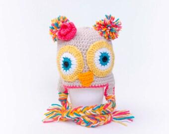 Crochet owl hat girl baby hat baby shower gift  Toddler hat ,children hat ,Newborn hat ,toddler crochet hat ,baby hat