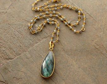 Labradorite Pendant on Labradorite Rosary Chain - Layering Necklace - Labradorite Pendant Necklace, Rosary Chain Necklace, Gemstone Necklace