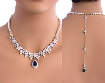 Grace - Sapphire Blue Bridal Jewelry SET Necklace + Earrings, Wedding Backdrop Necklace, Swarovski Crystal Pearl Back Drop Necklace