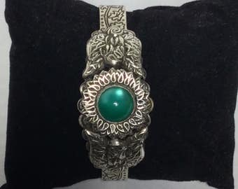 Amazing Engraved Silver Cuff Bracelet with Green Accent Cabochon