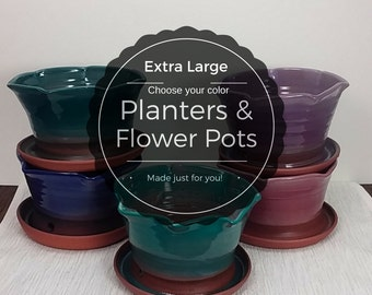 Extra Large custom ceramic decorative glazed planter flower pot clay planters gift pots, unique house plant container, tabletop herb garden