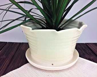 White Ceramic Flower Pot, Indoor or Outdoor Modern Large Pottery Planter, Plant Pot and Gardening Gift