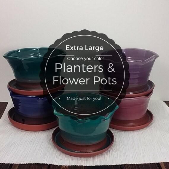 Extra large custom ceramic decorative glazed planter flower