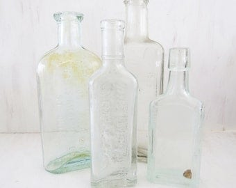 4 Old  Medicine Bottles- Antique glass bottles. Apothecary, Groves Chill Tonic,  Witsell brothers, Dr King's New Discovery, Chamberlain,
