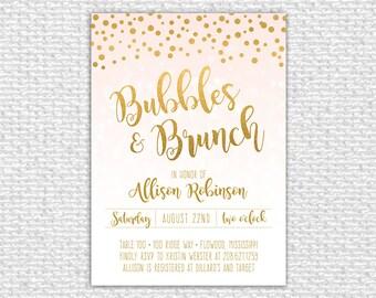 Bubbles & Brunch Invitation, Wedding Shower Invitation, Bridal Shower Invite, Gold Bridal Shower, Confetti, Printable Invitation