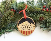 Harry Potter Ornament, Harry Potter Christmas, Wood Slice Ornament, Christmas Decor, Hand Painted Ornament, Christmas Ornament
