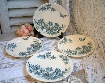 Set of 4 Antique french teal transferware dinner plates. Teal transferware. Jasmine. Butterflies. Blue green transferware. Tea plates