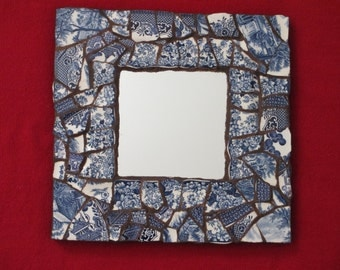 Blue Willow mosaic mirror made with Blue Willow and other vintage blue and white china from England and USA