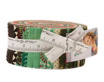 """Moda Fabrics Berry Merry Jelly Roll by Basic Grey 2.5"""" PreCut Quilting Cotton Strips Fabric Strips - Christmas"""