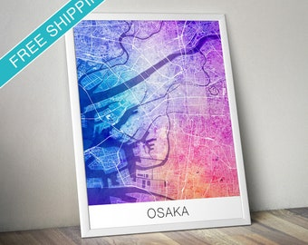 Osaka Map Print - Map Art Poster with Watercolor Background