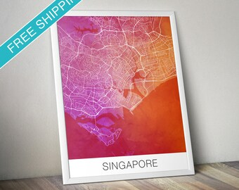 Singapore Map Print - Map Art Poster with Watercolor Background