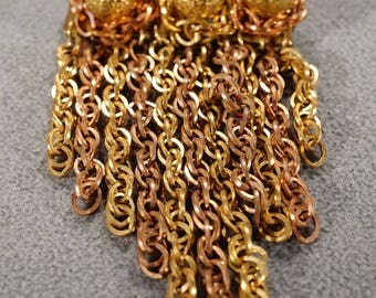 Vintage Art Deco Style Rose Gold Tone Round Line Link Tassel Brooch Pin Jewelry -K#72