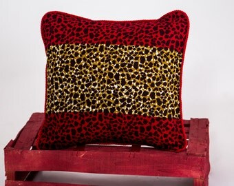 African Pillows - Leapord Print Pillow - Living Room Decor - Bedroom Decor - Ankara Cushion - Cushion Cover - African Home Decor