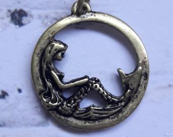 Antique Brass Mermaid Charm Jewelry Supplies