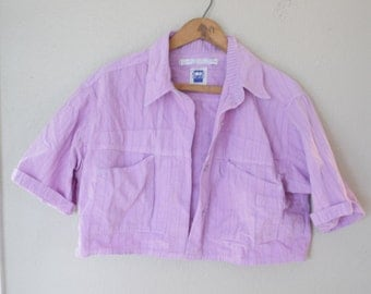 Vintage lilac purple crop halter button up top