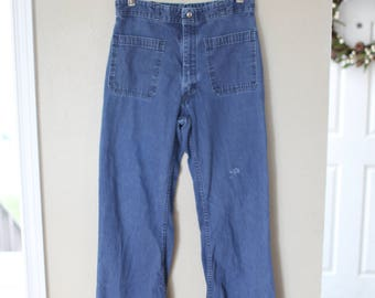 vintage high rise waisted bell bottom denim jeans 30 32