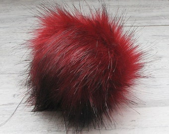 Red Fox, Faux Fur Pom Pom. Bobble for hat. extra large pom pom, fox fake fur pompom,  handmade pom pom, Large Detachable pom pom