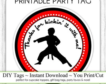 Karate Birthday Tag, Boy Karate Birthday Printable, DIY Cupcake Topper, Instant Download
