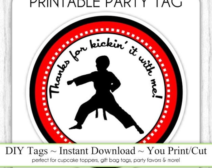 Karate Birthday Tag, Boy Karate Birthday Printable, DIY Cupcake Topper, Instant Download