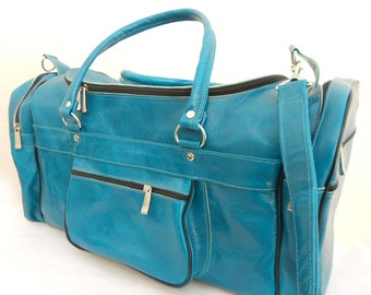 Womens & Mens Turquoise Leather Duffel Luggage Bag, Monogrammed Personalized Travel Weekend Bag, Groomsmen gift