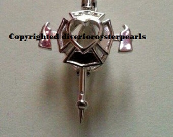 Fireman Pearl Cage Pendant Sterling Silver