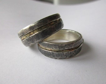 WEDDINGRINGS 14 K GOLD, wedding rings 14 K Gold bicolor forged hand made or sterling silver