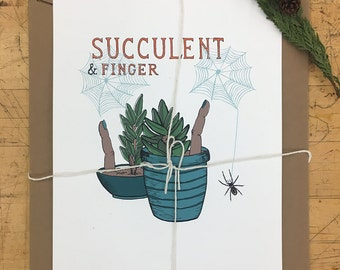 Succulent and Finger Print - Hand Pulled Serigraph