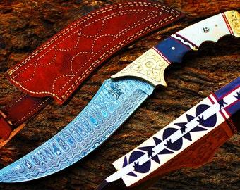 "7.4"" Damascus Blade Collector Hunting Knife w/Engraved Steel Bolsters, Camel Bone,Buffalo Horn, File-Work,Fine Custom made Sheath UDK-AF-35"
