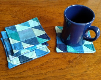 Handmade Quilted Blue Coasters, Set of 4, Fabric Set