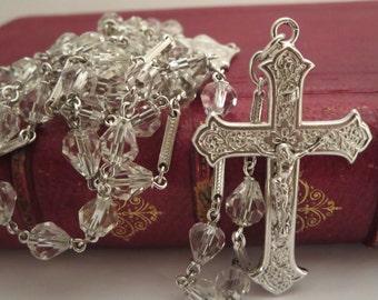 PRAYER BEADS ROSARY, Necklace rosary, Catholic, Religious Jewelry, Crystal rosary, Silver rosary, Heavy rosary, Vintage, Religious