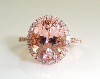 AAA Quality 3.86 Carat Morganite Ring With Diamond Halo in 14k Rose Gold (14497)