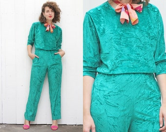 SALE Vintage 70s Jumpsuit | 70s Crushed Green Velour Jumpsuit Holiday Long Sleeve | Medium M
