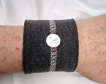 Black denim bracelet cuff featuring a pink ribbon and mother of pearl button, denim jewelry, denim cuff, breast cancer awareness,