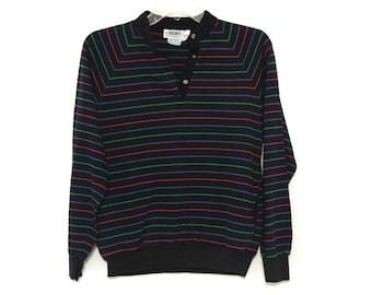 Vintage 80s raglan tshirt striped rainbow magenta teal