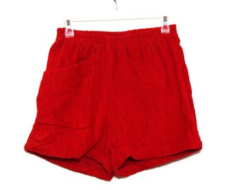 Vintage 80s shorts terry cloth red