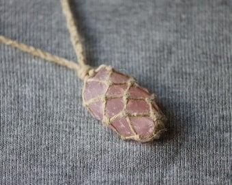 Rose Quartz Macrame Necklace - Natural