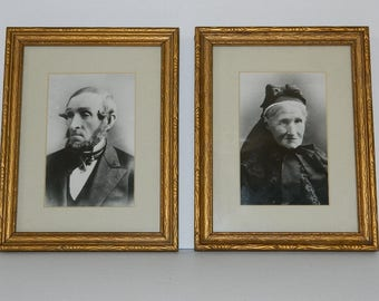 Set of Two Vintage Black and White Husband & Wife Wood Frame Portraits